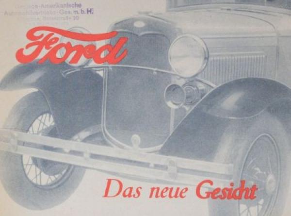"""Ford Model A """"Das neue Gesicht"""" 1930 Automobilprospekt"""