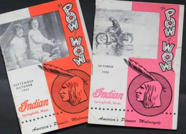 "Indian Motorrad ""Pow Wow Magazine"" 1953 zwei Motorrad-Prospekte"