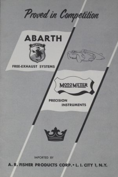 """Abarth Auspuff-Anlagen """"Free-Exhaust System - Proved in Competition"""" 1958 Zubehör-Prospekt"""