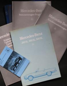 Mercedes-Benz 280 SL - 500 SL Angebotsmappe mit 6 Prospekten 1982 in Originalordner