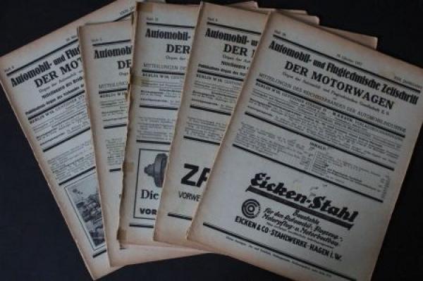 """""""Der Motorwagen"""" 5 Ausgaben Automobiltechnische Zeitschrift 1928"""