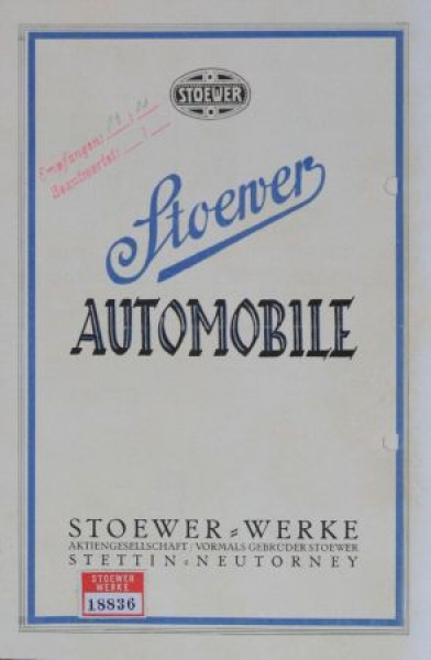 Stoewer Automobile 1925 Automobilprospekt