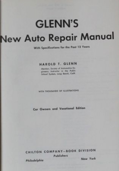 "Glenn ""New Auto Repair Manual"" 1960 Fahrzeug-Technik"