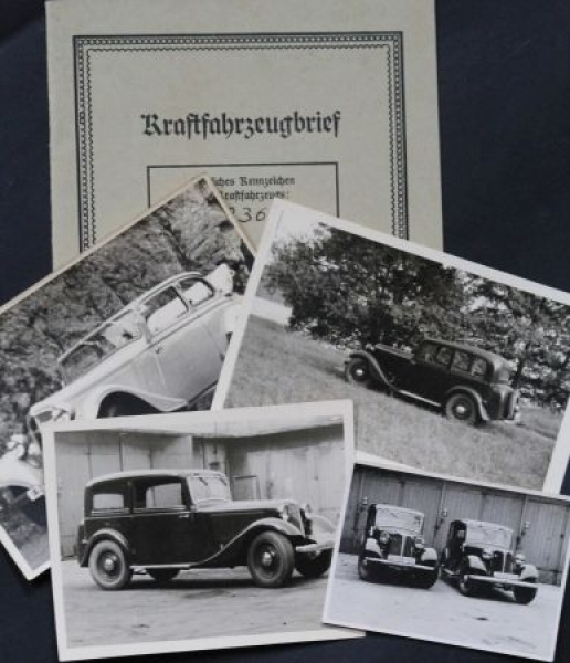 Adler 25 PS Kabrio-Limousine 1939 Kraftfahrzeugbrief und Photos