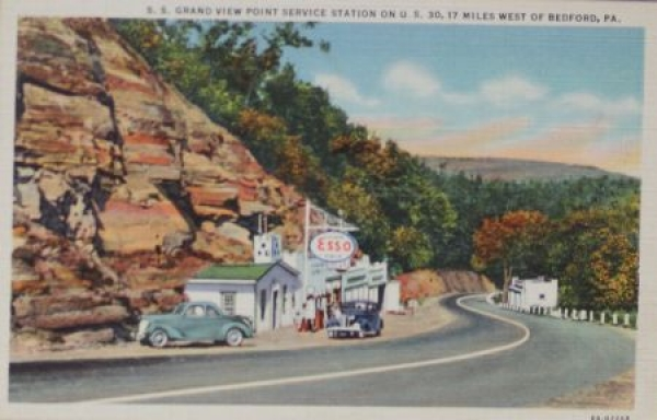 "Esso Standard Werbe-Postkarte 1939 ""Service Station on US 30"""