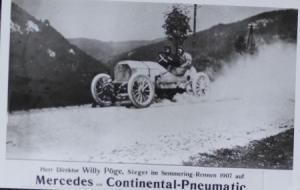 Mercedes Postkarte Continental Pneumatic 1907 Semmering Rennen