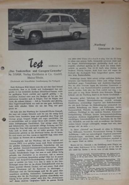Wartburg Limousine de Luxe 1959 Automobilprospekt