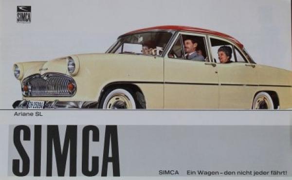 """Simca Ariane """"Ein Wagen den nicht jeder fährt"""" 1958 Automobilprospekt"""