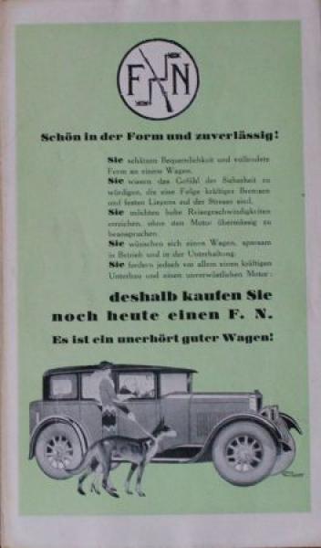 """FN Automobile """"Schön in der Form und Zuverlässig"""" 1926 Automobilprospekt"""