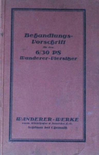 Wanderer 6/30 PS Viersitzer 1926 Betriebsanleitung