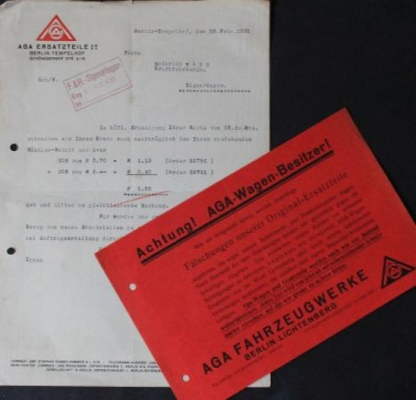 AGA Automobile 1931 Briefkorrespondenz