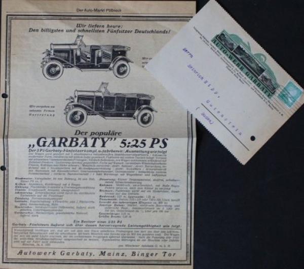 Garbaty Autowerke 5/25 PS Werbeanzeige und Postkarte 1925