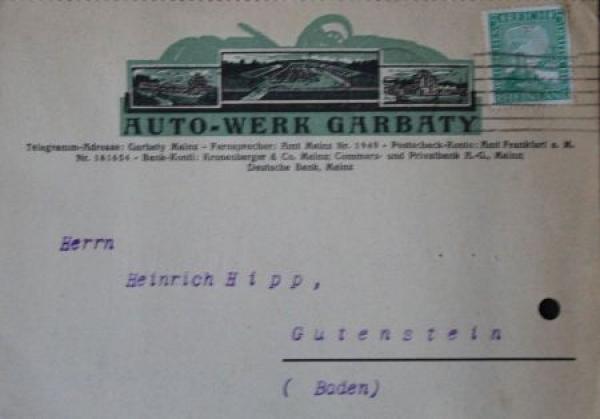 Garbaty Autowerke 5/25 PS Werbeanzeige und Postkarte 1925 1