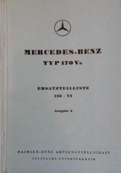 Mercedes-Benz Typ 170 Va 1950 Ersatzteilliste