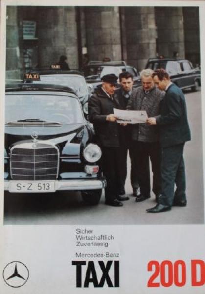 """Mercedes-Benz TAXI 200 D """"Sicher, wirtschaftlich, zuverlässig"""" 1966 Automobilprospekt"""