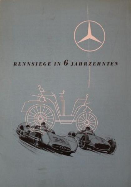 """Mercedes-Benz """"Rennsiege in 6 Jahrzehnten"""" 1956 Automobilprospekt"""