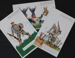 Excelsior Gummiwerke drei Werbepostkarten 1914