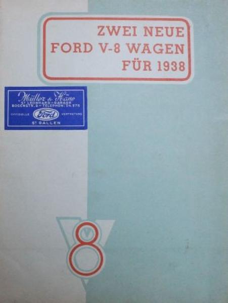 """Ford """"Zwei neue Ford V8 Wagen"""" 1938 Automobilprospekt"""