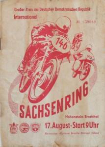 """""""Sachsenringrennen Hohenstein"""" August 1958 Rennprogramm"""