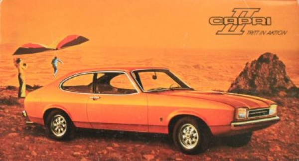 """Ford Capri II """"Tritt in Aktion"""" Werbe-Mappe mit Waschschwamm 1974"""
