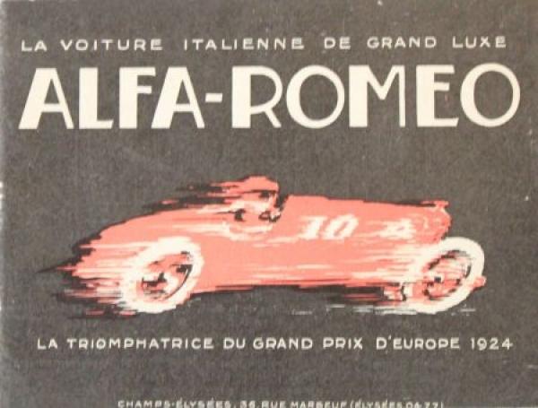 "Alfa Romeo Modellprogramm ""Grand Prix D'Europe 1924"" 1925 Automobilprospekt 0"