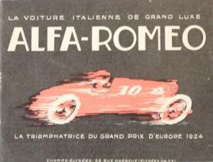 "Alfa Romeo Modellprogramm ""Grand Prix D'Europe 1924"" 1925 Automobilprospekt"
