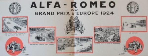 "Alfa Romeo Modellprogramm ""Grand Prix D'Europe 1924"" 1925 Automobilprospekt 1"
