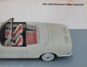 VW Karmann Ghia 1500 Cabriolet 1965 Automobilprospekt