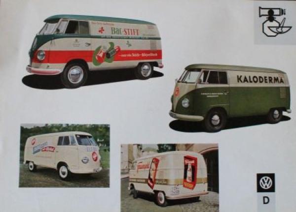 Volkswagen T1 Transporter Werbebeschriftungen 1958 Automobilprospekt