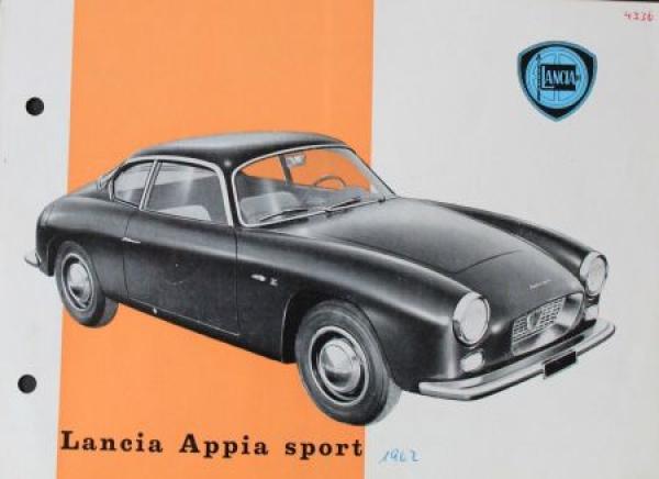 Lancia Appia Sport Coupe 1962 Automobilprospekt