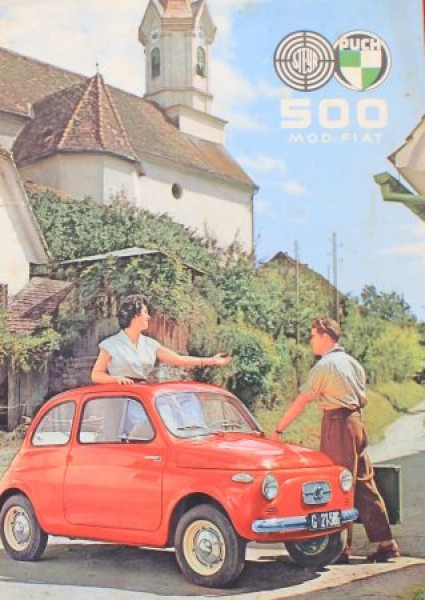 Steyr-Puch Fiat 500 Modellprogramm 1956 Automobilprospekt