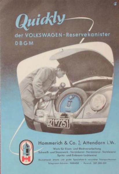 Volkswagen Quickly Reservekanister 1952 Automobilprospekt