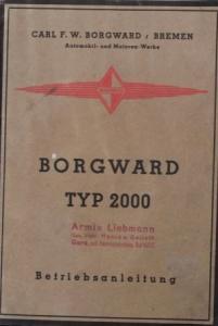 Borgward Typ 2000 Betriebsanleitung 1938