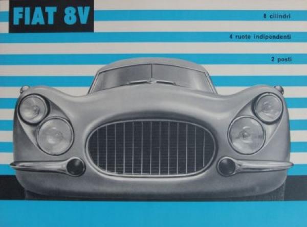 Fiat 8V 2 Posti 8 Zylinder Modellprogramm 1953 Automobilprospekt 0