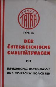"""Tatra Tyoe 57 """"Der österreichische Qualitätswagen"""" 1935 Automobilprospekt"""