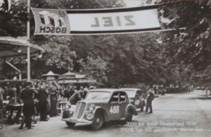 """Steyr Typ 100 """"2000 Kilometer durch Deutschland"""" 1934 Postkarte"""