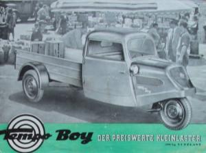 """Tempo Boy """"Der preiswerte Kleinlaster"""" 1951 Lastwagen-Prospekt"""