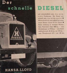 """Hansa-Lloyd """"Der schnelle Diesel"""" 1939 Lastwagen-Prospekt"""