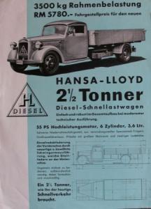 Hansa-Lloyd 2,5 to. Diesel 1939 Lastwagen-Prospekt
