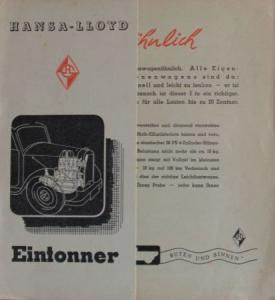 Hansa-Lloyd Eintonner 1938 Lastwagen-Prospekt