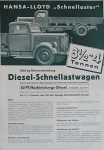Hansa-Lloyd 3,5 to. Diesel 1939 Lastwagen-Prospekt