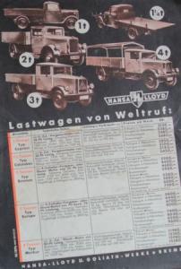 Hansa-Lloyd Dieselprogramm 1936 Lastwagen-Prospekt