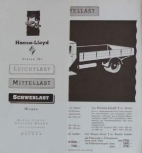 Hansa-Lloyd Dieselpreisliste 1938 Lastwagen-Prospek