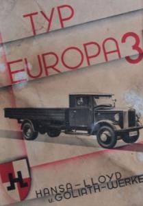 Hansa-Lloyd Europa Drei 1932 Lastwagen-Prospekt