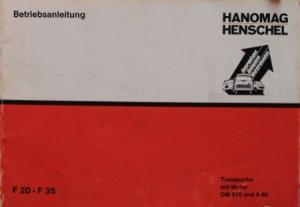 Hanomag Henschel F 20 Transporter 1971 Betriebsanleitung
