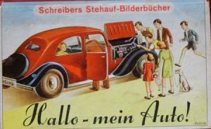 """Schreiber """"Hallo - mein Auto!"""" Automobil-Stehauf-Bilderbuch 1950"""