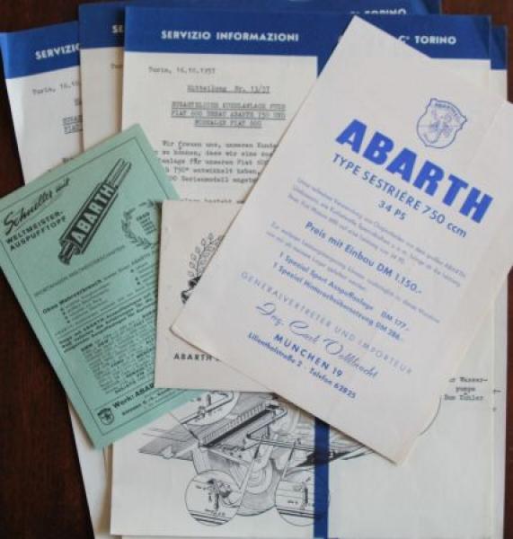 Abarth 7 Werbeblätter Auspuffanlagen 1957 Zubehörprospekte 0