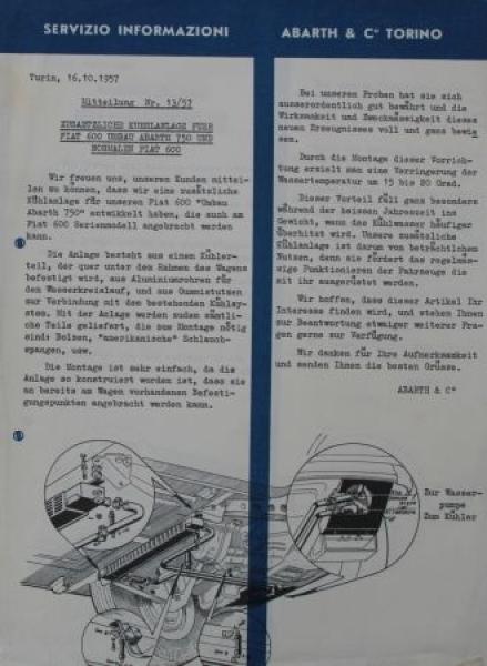 Abarth 7 Werbeblätter Auspuffanlagen 1957 Zubehörprospekte 1