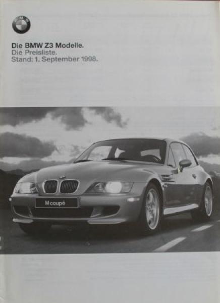 BMW Z3 Preisliste 1998 Automobilprospekt 0