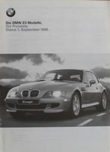 BMW Z3 Preisliste 1998 Automobilprospekt